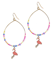 MULTI SEEDBEAD WIRE TEARDROP EARRING - FLAMINGO