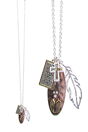 RELIGIOUS INSPIRATION MULTI CHARM PENDANT LONG NECKLACE - SERENITY