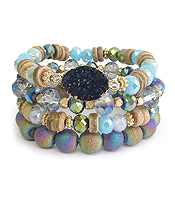MULTI SEMI PRECIOUS STONE MIX 4 STRETCH BRACELET SET