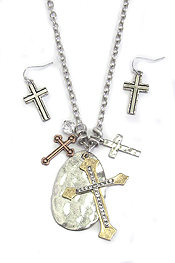 MULTI CROSS PENDANT LONG NECKLACE SET