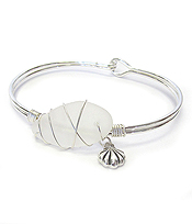 WIRE WRAP SEA GLASS BANGLE BRACELET - SEA SHELL