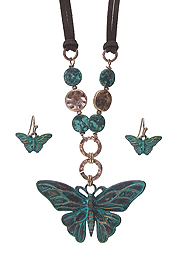 VINTAGE RUSTIC BUTTERFLY PENDANT NECKLACE SET