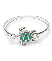 FLOATING SEA GLASS BANGLE BRACELET - TURTLE