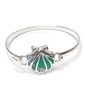 FLOATING SEA GLASS BANGLE BRACELET - SHELL