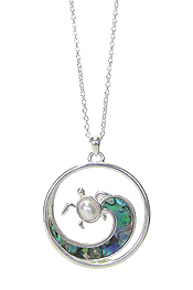 ABALONE WAVE AND PEARL TURTLE PENDANT NECKLACE