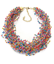 MULTI SEED BEAD AND LAYER NECKLACE