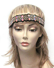 HANDMADE CRYSTAL AND BEAD ON FABRIC HEADBAND