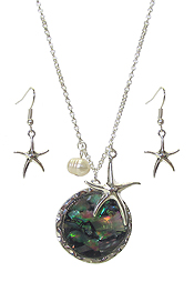 ABALONE DISC AND STARFISH PENDANT NECKLACE SET