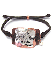 METAL PLATE AND LEATHER SUEDE PULL TIE BRACELET - MAMA BEAR