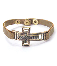 CRYSTAL CENTER GLUED CROSS AND LEATHERETTE BAND BRACELET