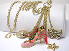 CRYSTAL AND METAL EPOXY MULTI SHOE CHARM DANGLE LONG NECKLACE