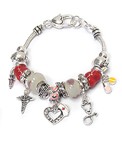 EURO STYLE MULTI BEAD AND CHARM BRACELET - NURSE