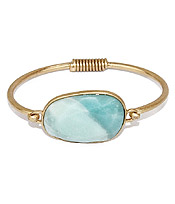 SEMI PRECIOUS STONE WIRE BANGLE BRACELET