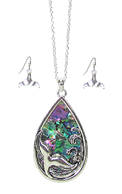ABALONE WAVE AND MERMAID TAIL TEARDROP NECKLACE SET