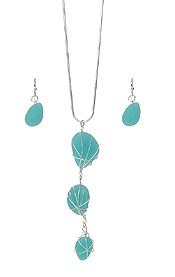 MULTI SEA GLASS WIRE WRAP DROP NECKLACE SET