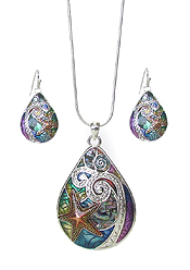 SEALIFE THEME TEARDROP NECKLACE SET - STARFISH AND WAVE