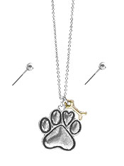 PAW PRINT PENDANT NECKLACE SET