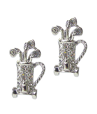 WHITEGOLD PLATING CRYSTAL GOLF BAG EARRING