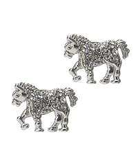 WHITEGOLD PLATING CRYSTAL HORSE EARRING