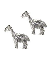 WHITEGOLD PLATING CRYSTAL GIRAFFE EARRING