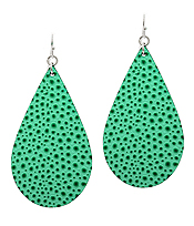 LEATHER TEXTURED TEARDROP EARRING - OSTRICH