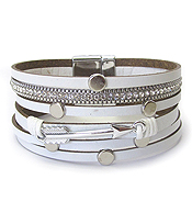 MULTI LEATHER LAYER MAGNETIC BRACELET - ARROW