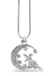 WHITEGOLD PLATING CRYSTAL FAIRY ON THE MOON PENDANT NECKLACE