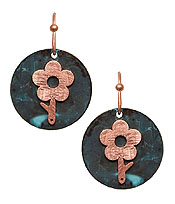 PATINA FLOWER DISC EARRING