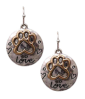 PET LOVERS DISC EARRING - PAW PRINT