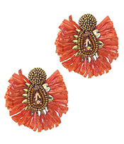 RAFFIA TASSEL AND FACET GLASS EARRING