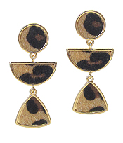 ANIMAL PRINT GEOMETIC SHAPE DROP EARRING
