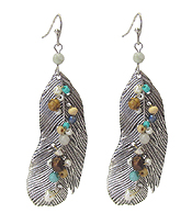 MULTI SEED BEAD METAL FEATHER EARRING