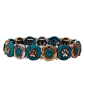 MULTI PAW PRINT STRETCH BRACELET