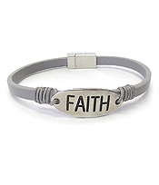 RELIGIOUS INSPIRATION LEATHER MAGNETIC BRACELET - FAITH