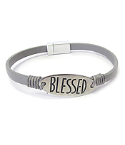 RELIGIOUS INSPIRATION LEATHER MAGNETIC BRACELET - BLESSED