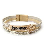 DOUBLE LAYER LEATHER MAGNETIC BRACELET - MAMA BEAR