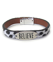 RELIGIOUS INSPIRATION ANIMAL PRINT MAGNETIC BRACELET - BELIEVE