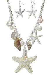 SEALIFE THEME MULTI CHARM DANGLE NECKLACE SET - STARFISH