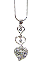 WHITEGOLD PLATING CRYSTAL TRIPLE HEART DROP PENDANT NECKLACE