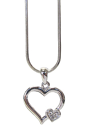 WHITEGOLD PLATING CRYSTAL DOUBLE HEART PENDANT NECKLACE