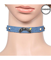 DENIM SPIKE CHOKER NECKLACE - OH HOW PUNK