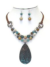 HAMMERD METAL TEARDROP AND MULTI BALL MIX CHAIN NECKLACE SET