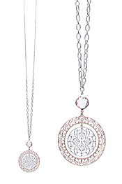 METAL FILIGREE DISC PENDANT LONG NECKLACE