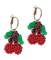 MULTI BEAD AND SEQUIN CHERRY EARRING