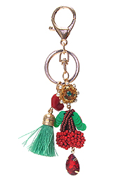 MULTI BEAD CHERRY KEY CHAIN