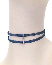 CRYSTAL BAR DENIM CHOKER NECKLACE