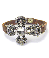 CRYSTAL CROSS LEATHERETTE BAND BRACELET