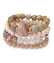MULTI STONE MIX 4 STRETCH BRACELET SET