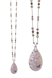 TEARDROP PENDANT AND MULTI BEAD LONG NECKLACE - HOPE