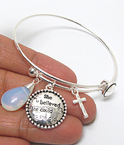 ALEX AND ANI STYLE INSPIRATION MESSAGE CHARM WIRE BANGLE BRACELET - SHE BELIEVED SHE COULD SO SHE DID